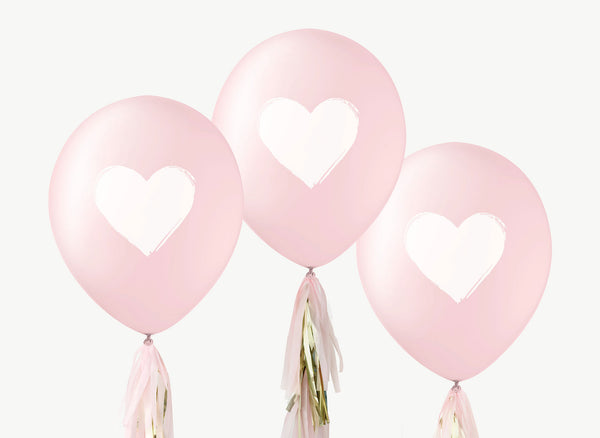 PINK White Heart Balloons