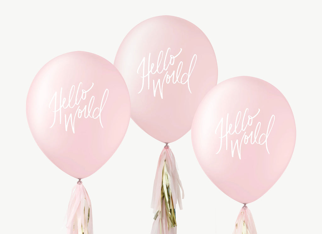 Hello World Balloons - White on Pink