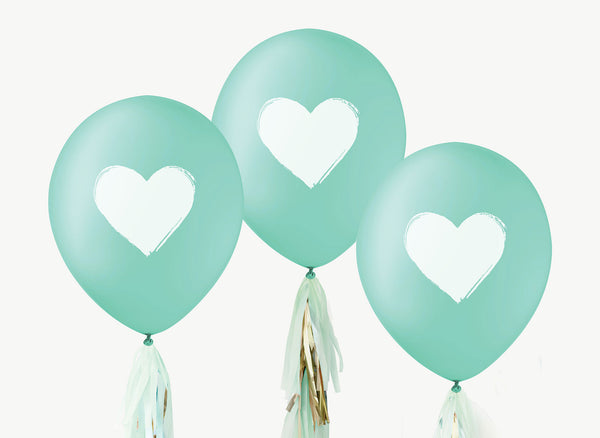 Heart Balloons - White on Teal