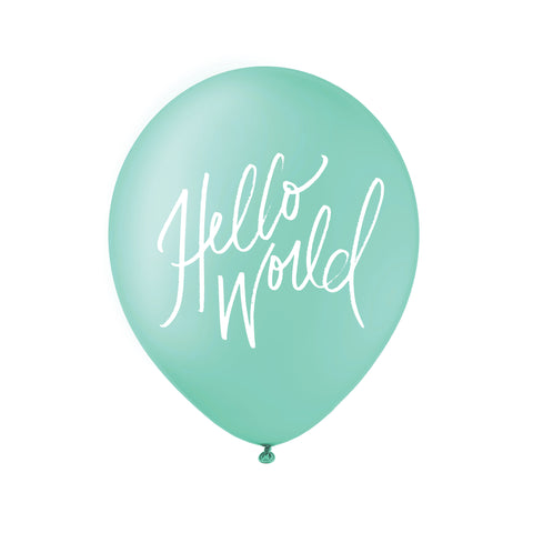 Hello World Balloons - White on Teal