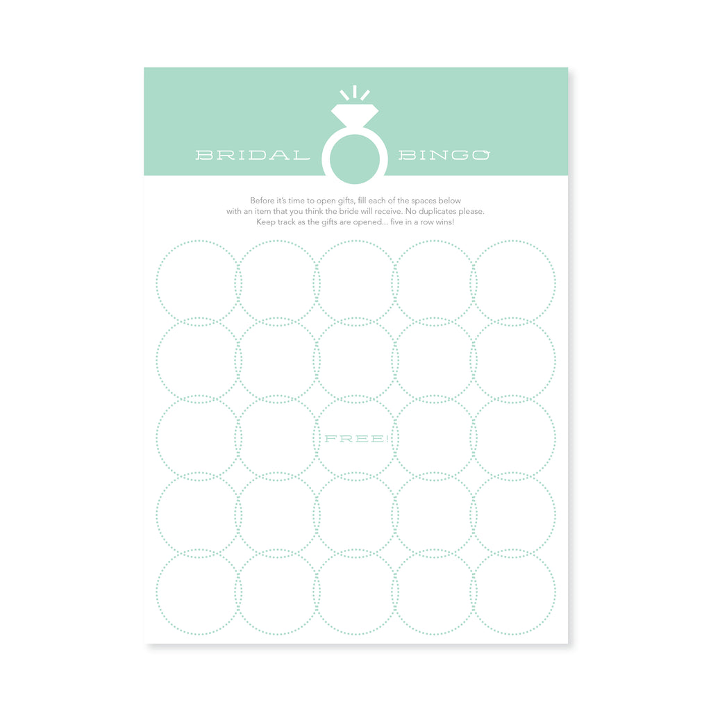Bridal Bingo - Mint Green