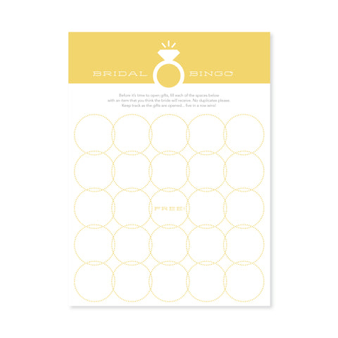 Bridal Bingo - Yellow