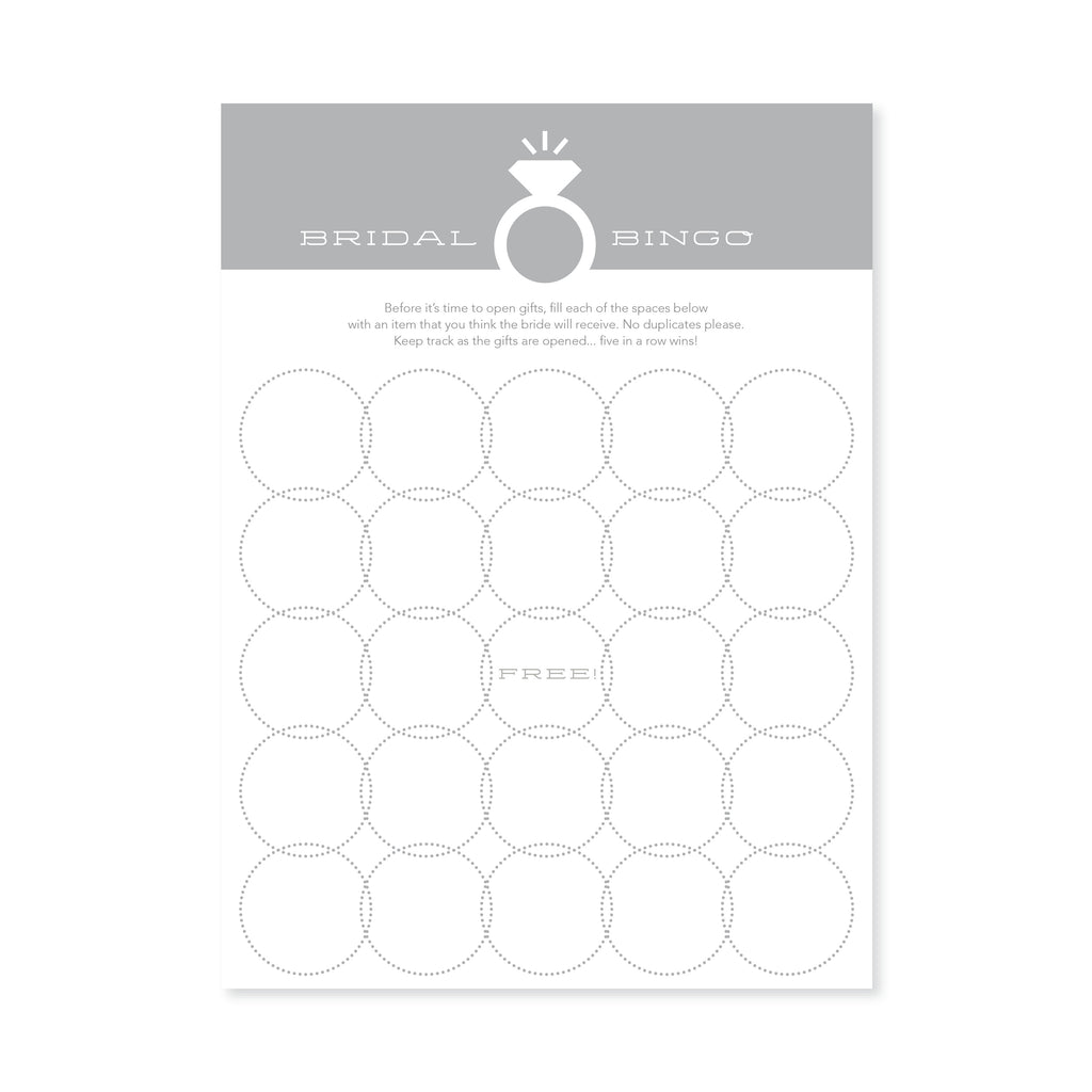 Bridal Bingo - Platinum Grey