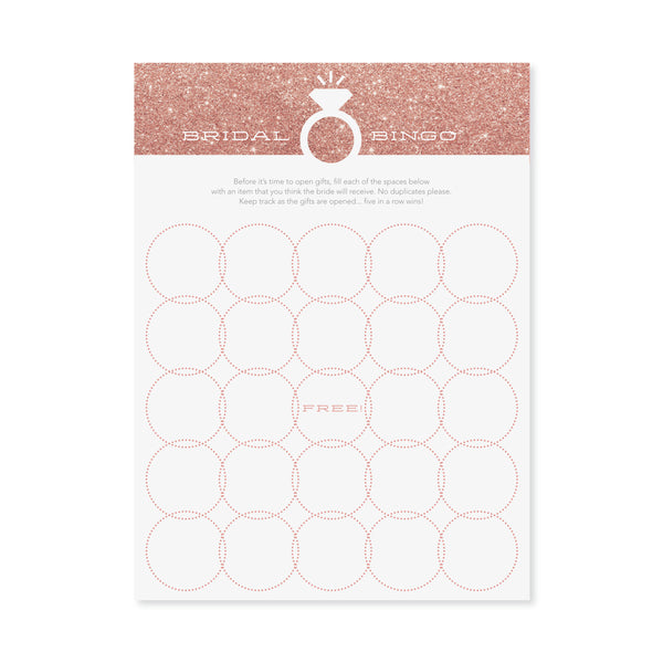 Bridal Bingo - Rose Gold Glitter