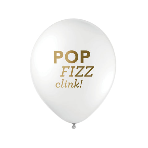 WHITE Pop Fizz Clink Balloons