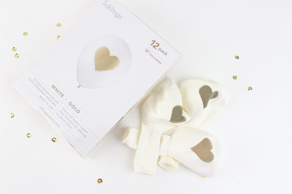 WHITE Gold Heart Balloons