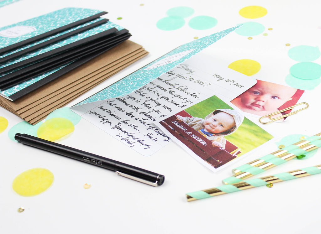 Teal Time Capsule Composition Card