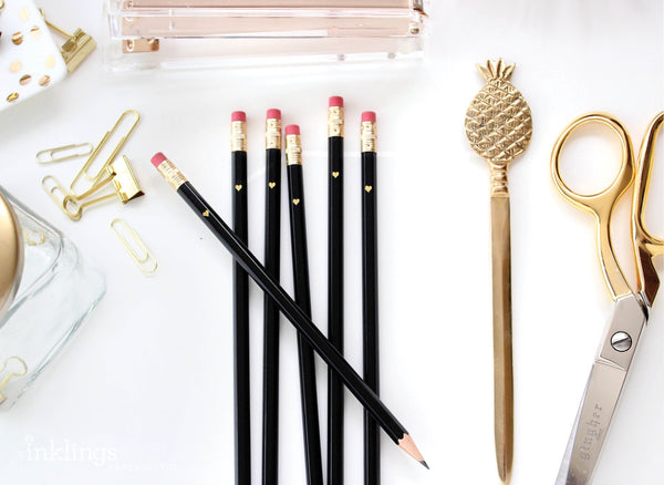 Gold Heart Full Length Pencils - Black