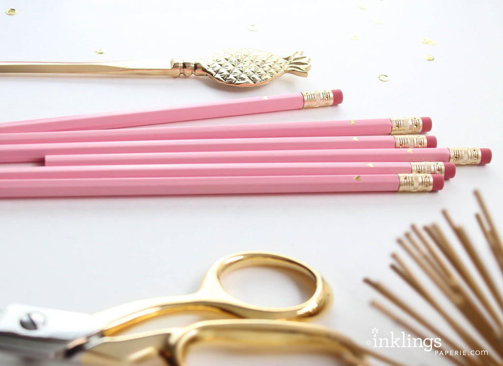Gold Heart Full Length Pencils- Pink