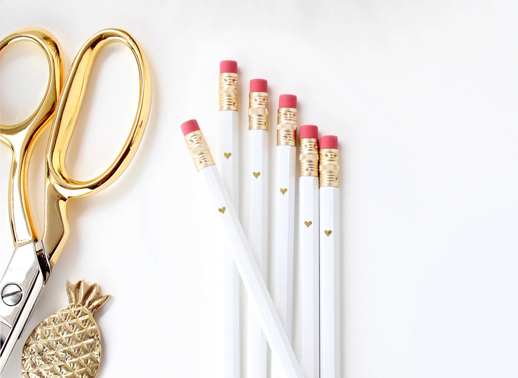 Gold Heart Full Length Pencils - White