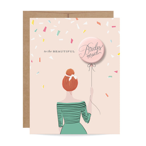 Bridesmaid Button Card - Redhead