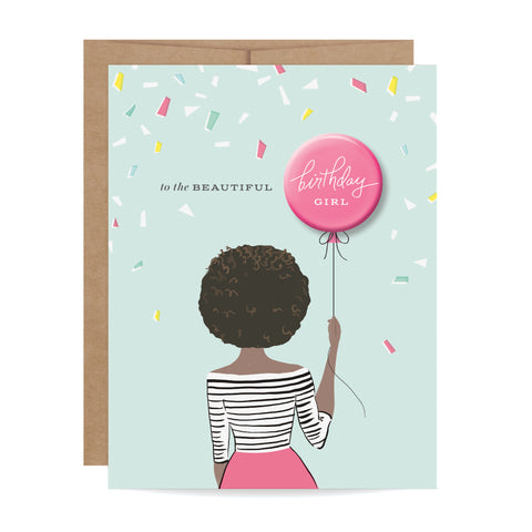 Greeting cards inklings paperie birthday girl button card african american m4hsunfo