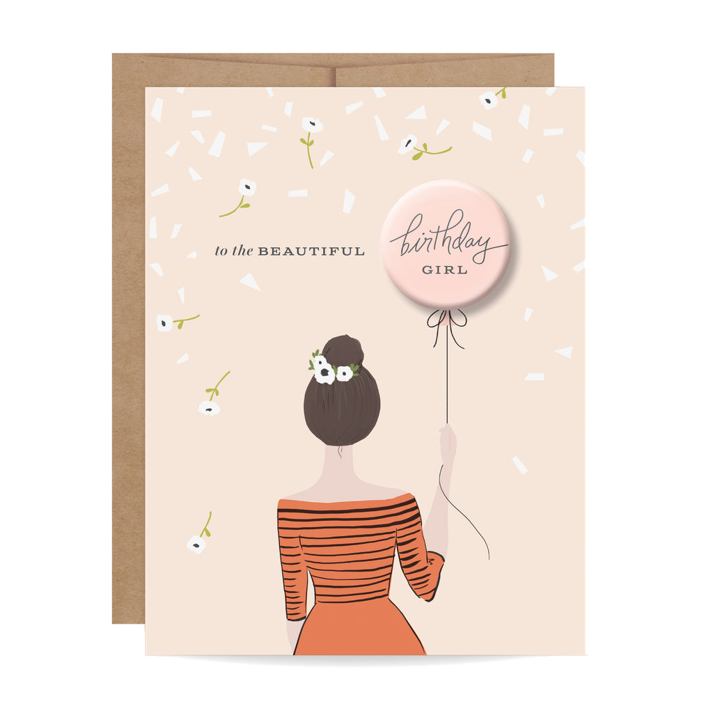 Birthday Girl Button Card - Brunette