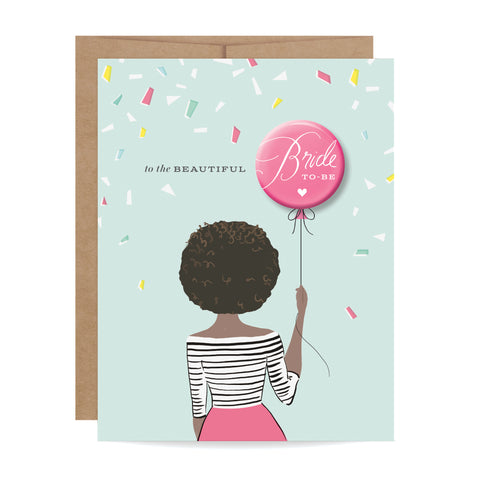 Bride-to-Be Button Card - African-American