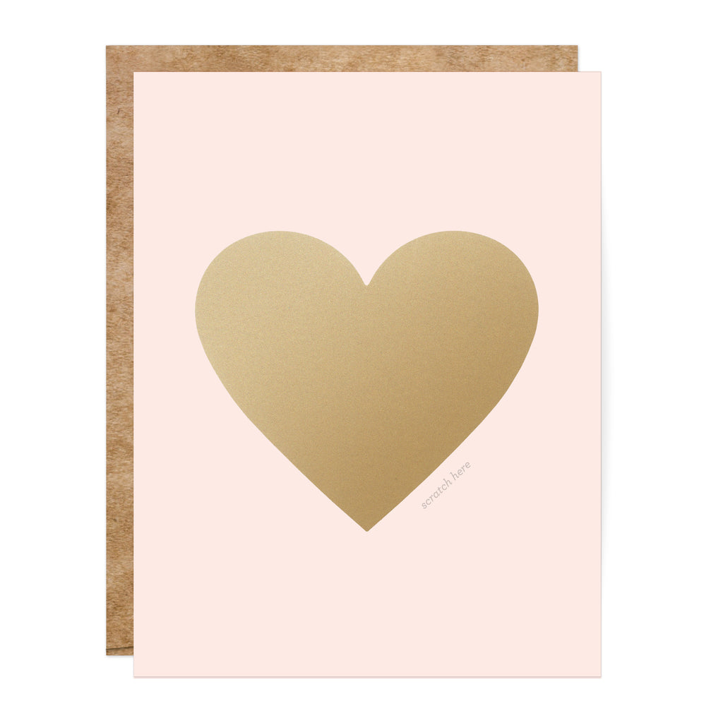 Pink & Gold Heart Scratch-off Card