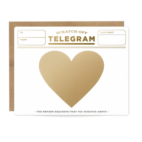 Gold Telegram Scratch-off Card