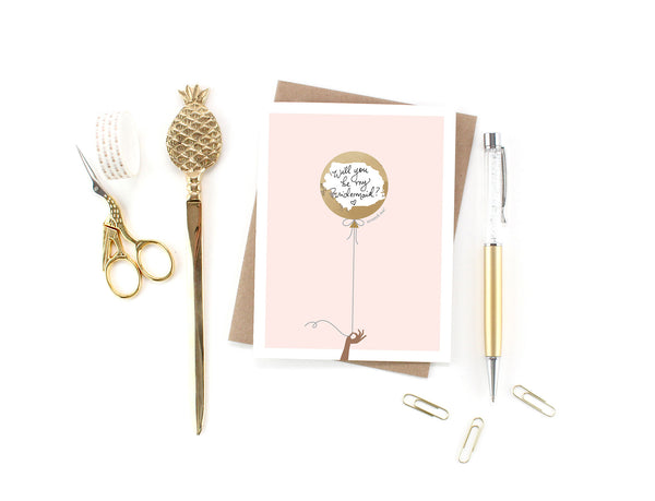 Pink & Gold Balloon Scratch-off Card (Skin Tone B)