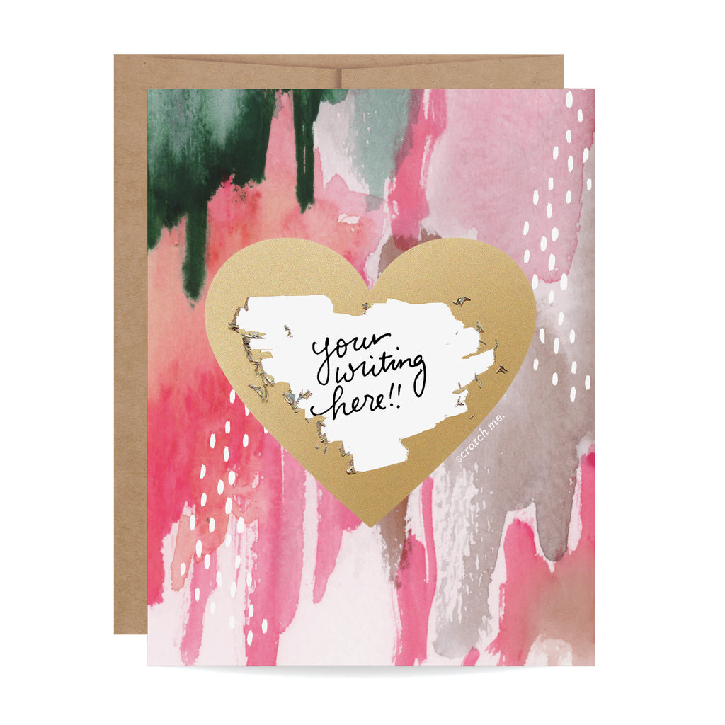 Watercolor Heart Scratch-off Card