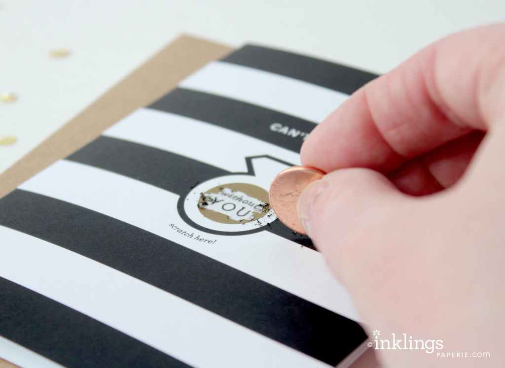 "Parisian Stripes ""I DO"" Scratch-off Card"