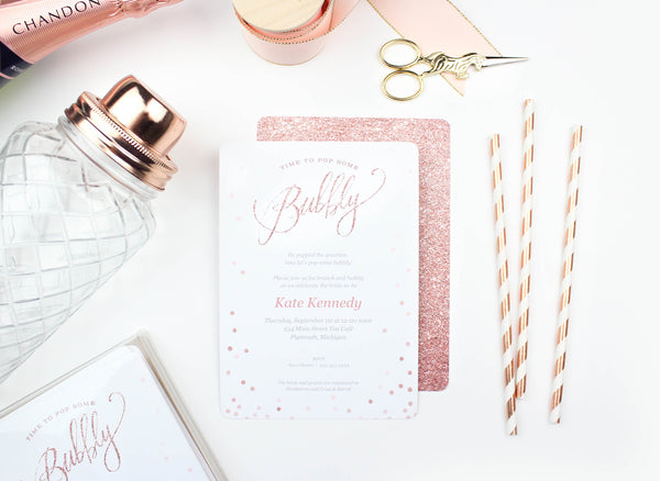 Rose Gold Bubbly Invitation