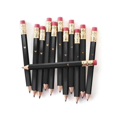 Gold Heart Mini Pencils - Black