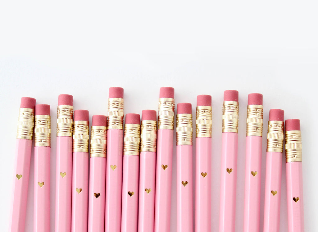 Gold Heart Mini Pencils - Pink