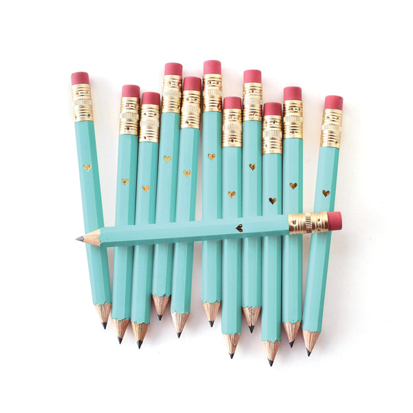 Gold Heart Mini Pencils - Teal