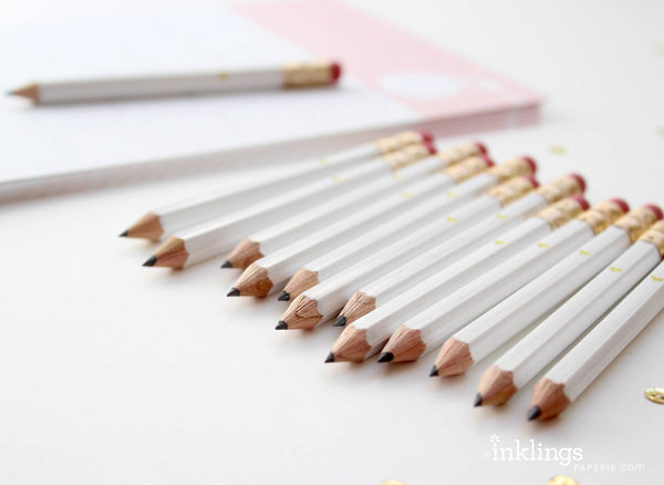 Gold Heart Mini Pencils - White