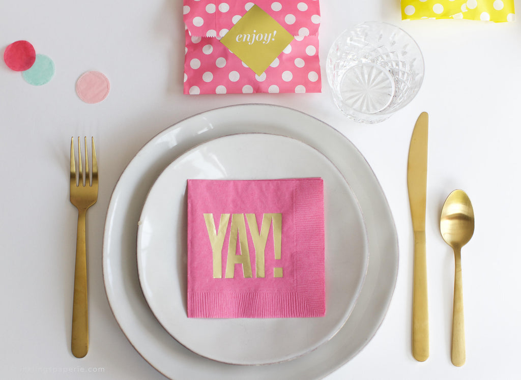 YAY Cocktail Napkins - Fuchsia