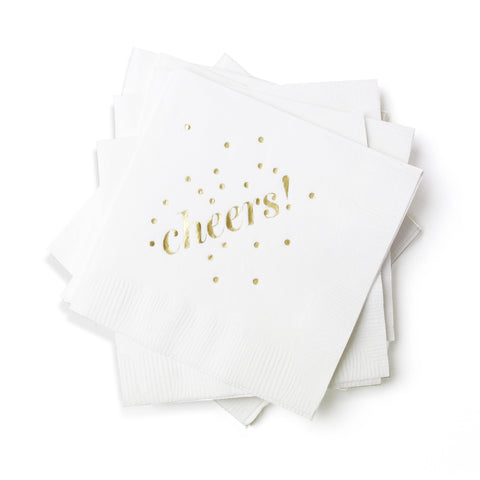 Cheers Cocktail Napkins - White