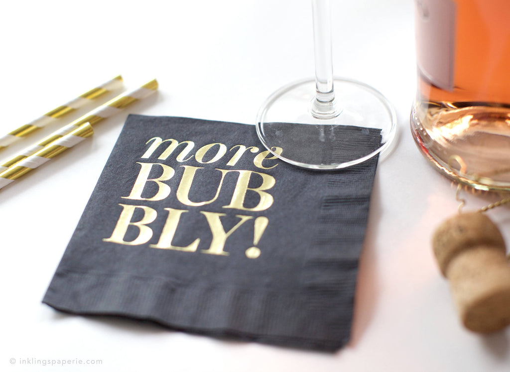 More Bubbly Cocktail Napkins - Black