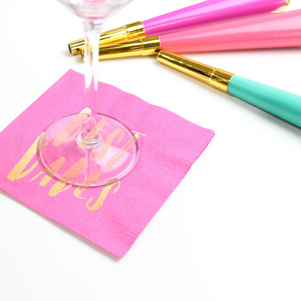 Best Babes Cocktail Napkins - Fuchsia