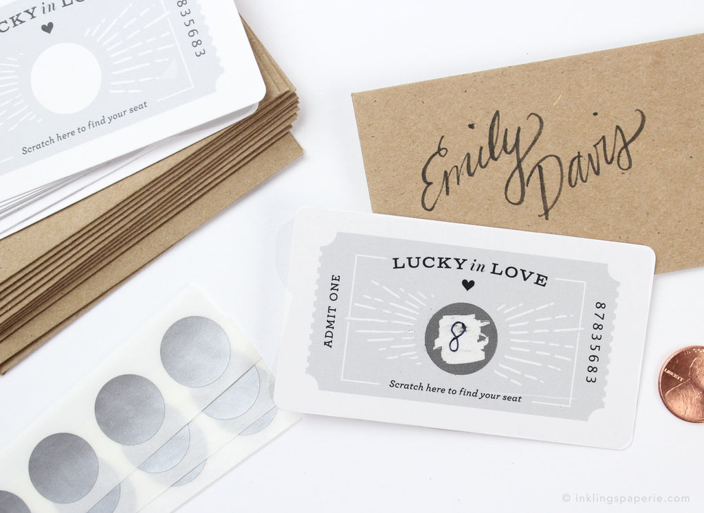 Ticket Scratch-off Place Cards - Grey