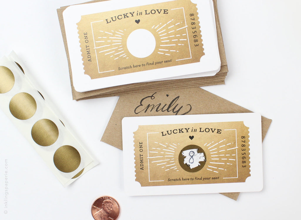 Ticket Scratch-off Place Cards - Gold