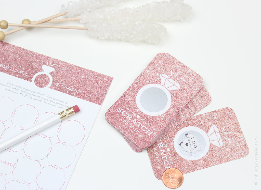 Bridal Scratch-off Game - Rose Gold Glitter