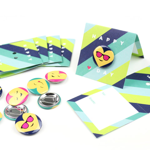 Emoji Button Valentines - Blue Stripe