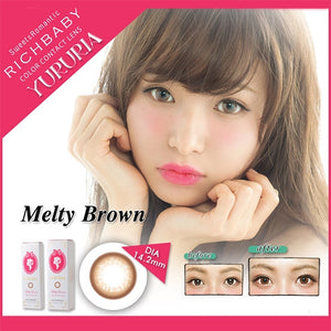 Richbaby Yururia 1 Day Melty Brown - 小さい兎USAGICONTACTカラコン通販 | 日本美瞳 | Japanese Color Contact Lenses Shop