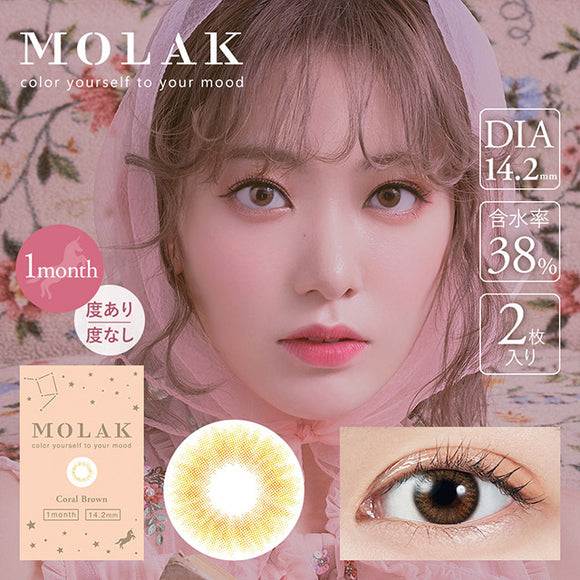 MOLAK Monthly CoralBrown - 小さい兎USAGICONTACTカラコン通販 | 日本美瞳 | Japanese Color Contact Lenses Shop