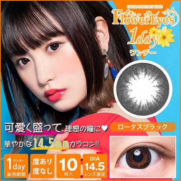 Flowereyes 1 Day LotusBlack - 小さい兎USAGICONTACTカラコン通販 | 日本美瞳 | Japanese Color Contact Lenses Shop