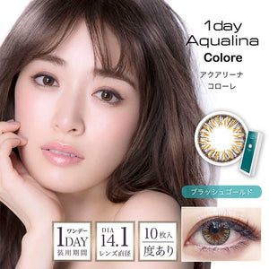 Aqualina Colore 1 Day BrushedGold - 小さい兎USAGICONTACTカラコン通販 | 日本美瞳 | Japanese Color Contact Lenses Shop