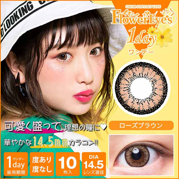 Flowereyes 1 Day RoseBrown - 小さい兎USAGICONTACTカラコン通販 | 日本美瞳 | Japanese Color Contact Lenses Shop