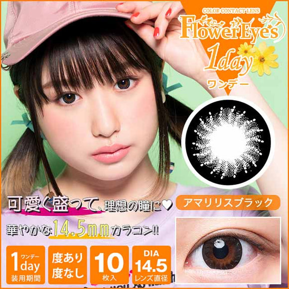 Flowereyes 1 Day AmaryllisBlack - 小さい兎USAGICONTACTカラコン通販 | 日本美瞳 | Japanese Color Contact Lenses Shop