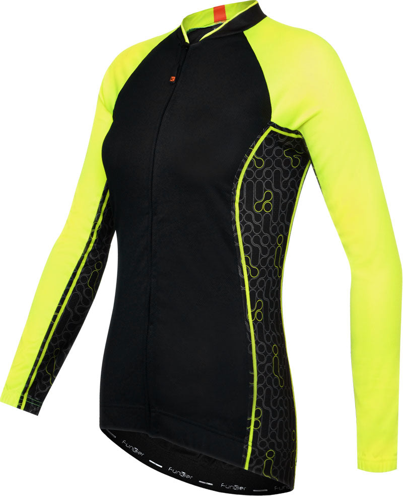 Ladies Long Sleeve Cycle Jersey in Black/Yellow Funkier Atheni