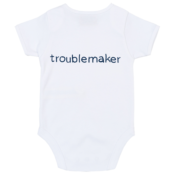 Troublemaker Colour Print Babygrow - 4 colours