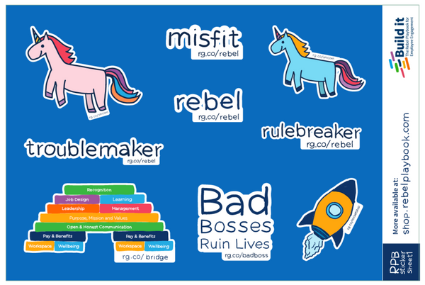 Rebel Playbook Sticker Sheet 1 - Employee Engagement Stickers