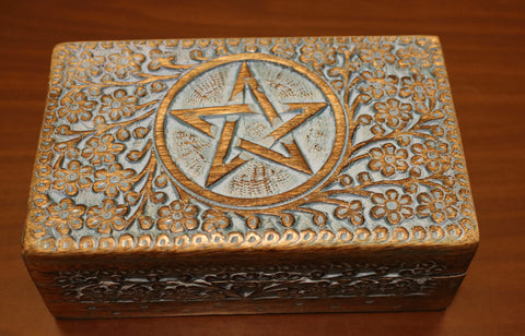 Wood Box - Pentacle - Blue