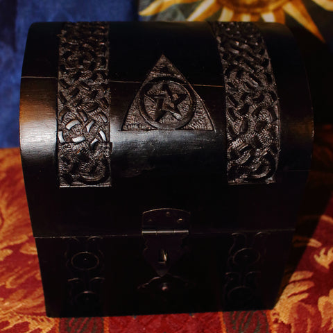 Pentacle & Triple Moon Wooden Chest