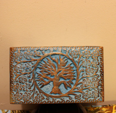 Wood Box - Tree of Life - Blue