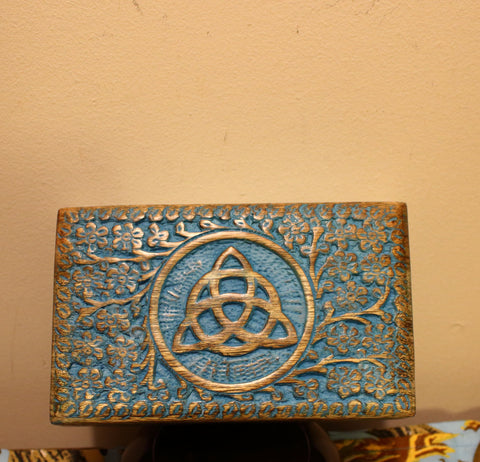Wood Box - Triquetra - Blue