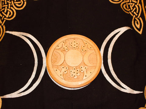 Wood Incense Holder, Triple Moon/Triple Goddess 1